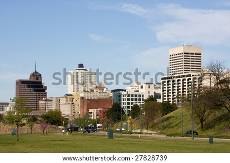 A view of the skyline of Memphis, Tennessee looking north from the Mississippi River. - stock photo