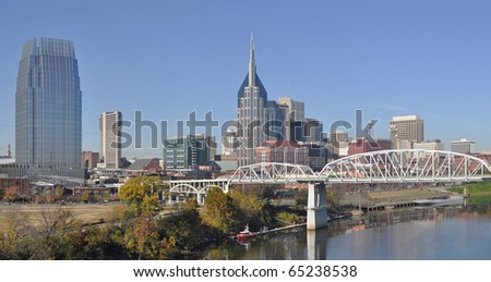 A view of the skyline of Nashville, Tennessee.