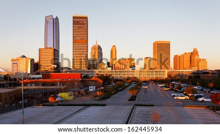 A view of the skyline of Oklahoma City at sunrise.