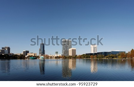 A view of the skyline of Orlando, Florida from across Lake Eola.