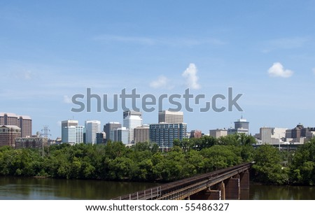 A view of the skyline of Richmond, Virginia.