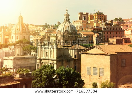 a view of the skyline of rome ...