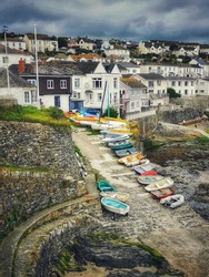 A view of the slipway at Portscatho in Cornwall, Southwest England