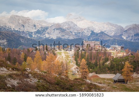 A view of the Slovenian Alps from Vogel Ski Hill in Ukanc during the Autumn Stockfoto ©