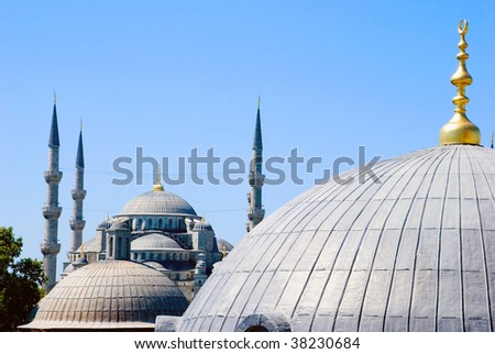 A view of the Sultan Ahmet mosque from behind other cupolas