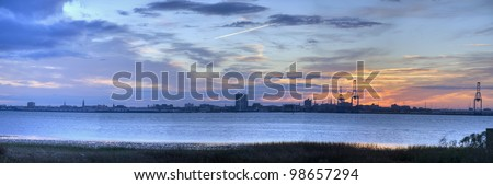 A View of the Sunset Behind the Port in Charleston Harbor