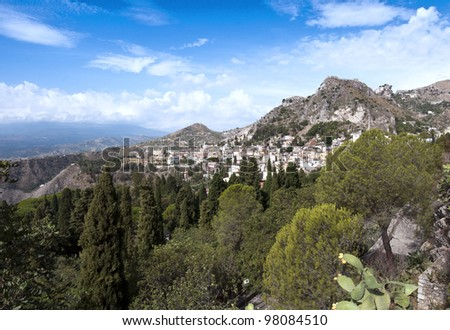 A view of the surrounding city and mountains from Taormina