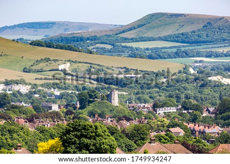 A view of the town of Lewes in the South Downs Zdjęcia stock ©