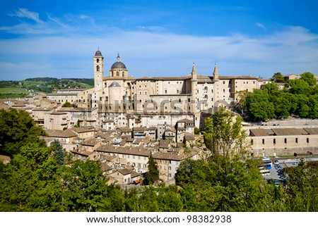 A view of the town of Urbino. Urbino is a walled city in the Marche region in Italy and it�¢??s a World Heritage Site.
