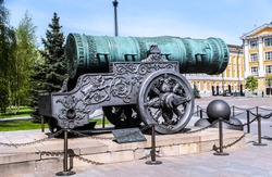 A view of the Tsar Pushka, built in 16 century, with cannon balls, and the Lion's head cast into the carriage. Moscow Kremlin