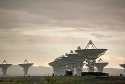 A view of the Very Large Array, a group of satellite dishes used to probe deep into outer space, as from the movie Contact
