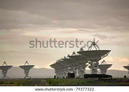 A view of the Very Large Array, a group of satellite dishes used to probe deep into outer space, as from the movie Contact - stock photo