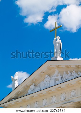 A view of the Vilnius Cathedral in Vilnius, Lithuania