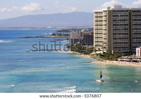 A view of the Waikiki coastline.