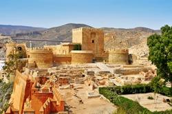 a view of the walls of the Alcazaba of Almeria, in Almeria, Spain