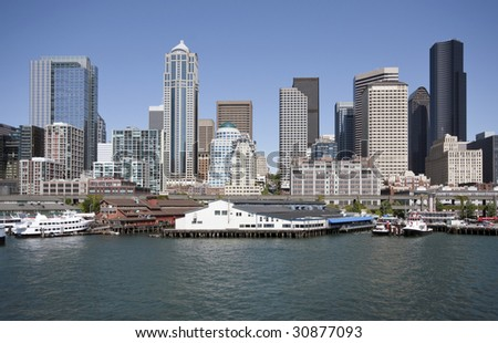 A view of the waterfront in downtown Seattle Washington