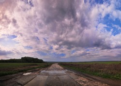 A view of the wet old concrete road, dense thickets of green grass on the field. Summer landscape after rain with fluffy white cumulus clouds and reflection of the sky in puddles. Russian landscape