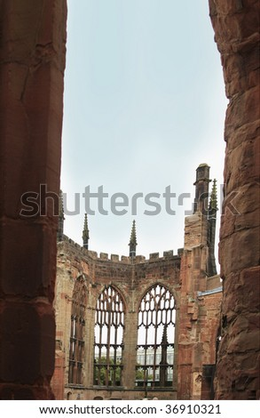 a view of the windows of the ruined cathedral in Coventry UK bombed in world war II