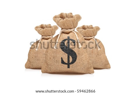 A view of three money bags with US dollar sign against white background