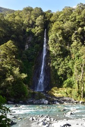 A view of Thunder Creek Falls in New Zealand.