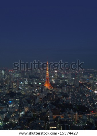 a view of tokyo from above at dusk