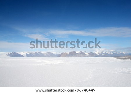 A view of Transantarctic Mountains - stock photo