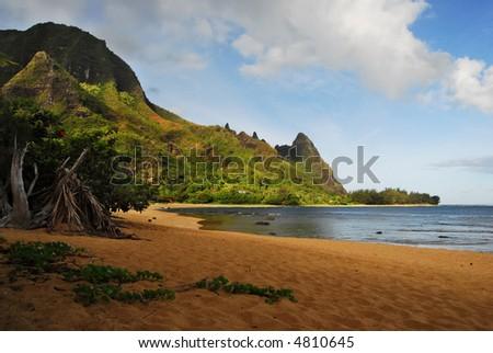 a view of Tunnel's Beach on Kauai, Hawaii