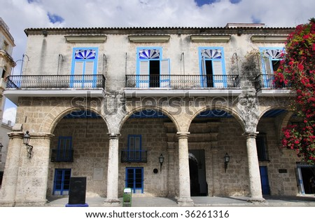A view of typical colonial building in Old Havana architecture