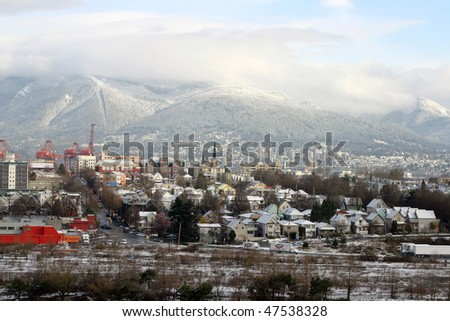 A view of vancouver city after snow