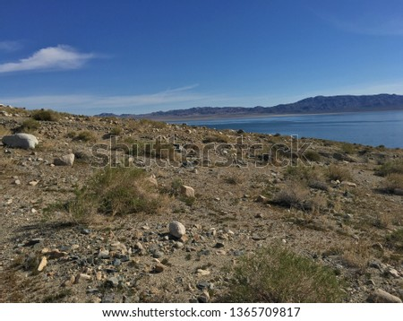 A view of Walker lake from a small vista point. #1365709817