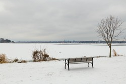 A view of White Rock Lake in East Dallas, Texas as it freezes over during the 2021 cold winter weather on 02-17-2021