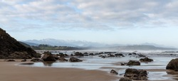 A view of wild and rocky and sandy beach at low tide