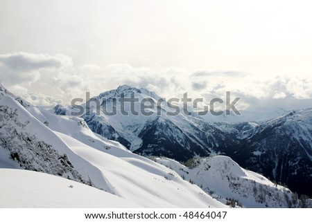 A view of winter mountain snow peak near BC, Canada.