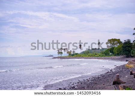 A view on a curved coastline at the distance from a shoreline perspective.