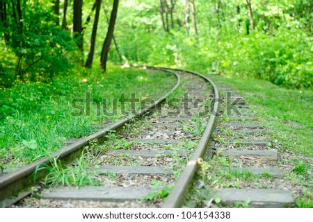A view on an abandoned railroad in forest