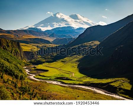A view on Elbrus mountain and Malka river valley. Dzhili-Su, Republic of Kabardino-Balkaria, Russia. Stok fotoğraf ©
