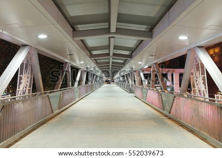 a  view on footbridge of modern urban city #552039673