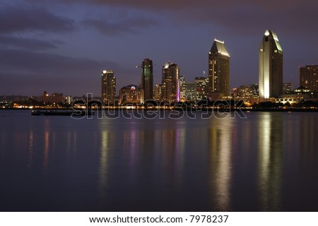 A view on San Diego Downtown from Coronado Island at dusk.