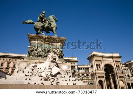 A view on the main square of Milan, the Piazza del Duomo, with the statue of Vittorio Emanuele II and the Galleria Vittorio Emanuele II, Italy