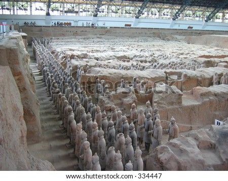 A view over the terracotta soldiers in China