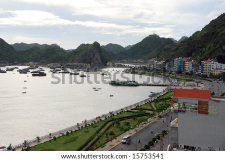 a view overlooking cat ba town, vietnam