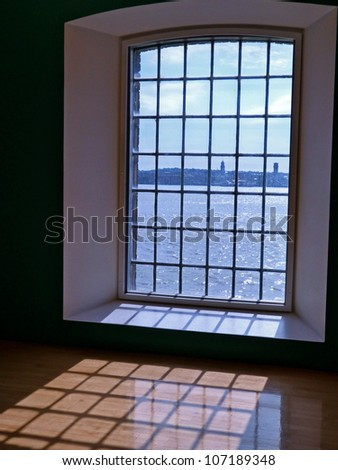 a view through a large window in Liverpool