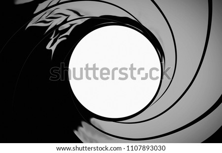 A view through the gun barrel. James Bond 007 gunbarrel sequence