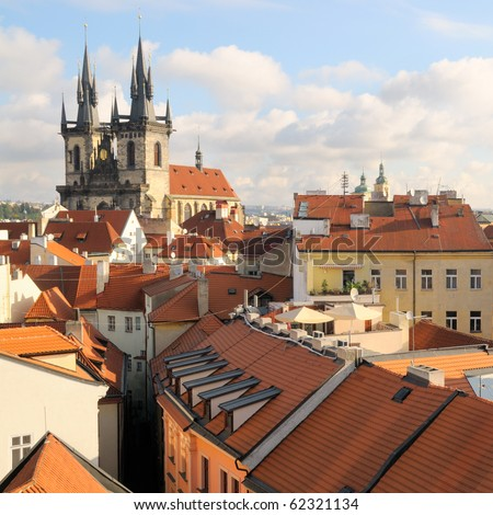 A view to the Church of Virgin Maria Before Tyn and rooftops; Old Town, Prague, Czech republic
