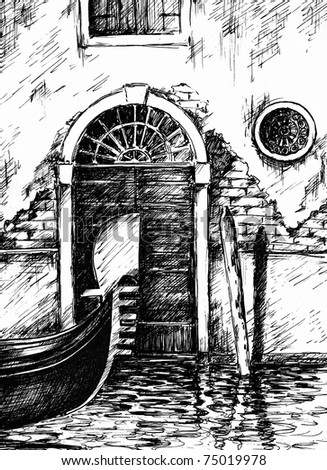 A view to the house in Venice,and a part of gondola in foreground .Picture I have created by myself with pen.