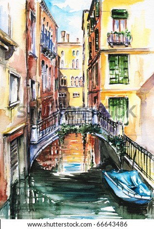A view to the houses in Venice,and a canal crossed by a bridge watercolor painted.Picture I have painted by myself.