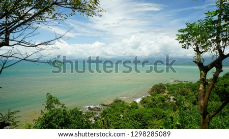 A view to the ocean and blue sky with clouds from the Nam Hai Kwan Se Im Pu Sa temple, sukabumi Indonesia  Stok fotoğraf ©