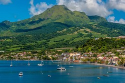 A view towards the town of Saint Pierre and the volcano, Mount Pelee in Martinique