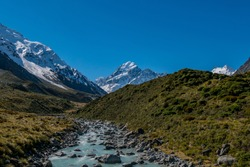 A view up the Hooker river with Mt Cook in the background.
