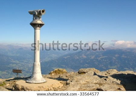 A viewpoint on a mountain peak in the austrian Alps.